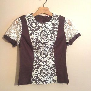 Moncollet Top Blouse Sheer Floral Lace Brown Ivory